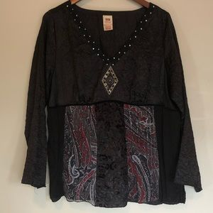 Faded Glory Black Boho Blouse